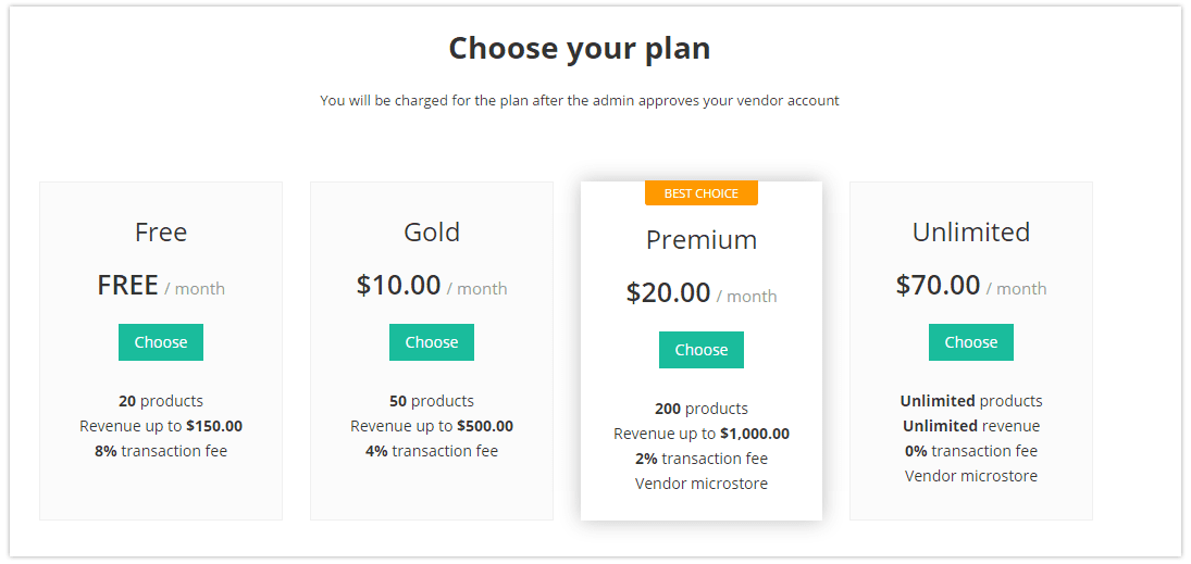 Vendor subscription plans