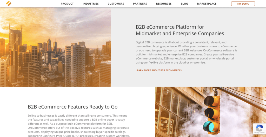 OROCommerce B2B ecommerce solution features