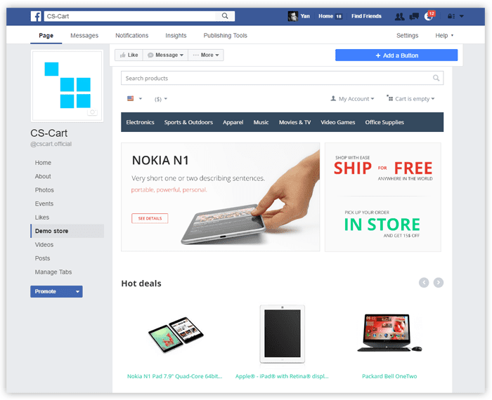 Facebook for free in CS-Cart 4.4.1