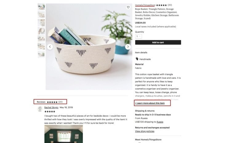 Etsy allows adding customer reviews right under the product image