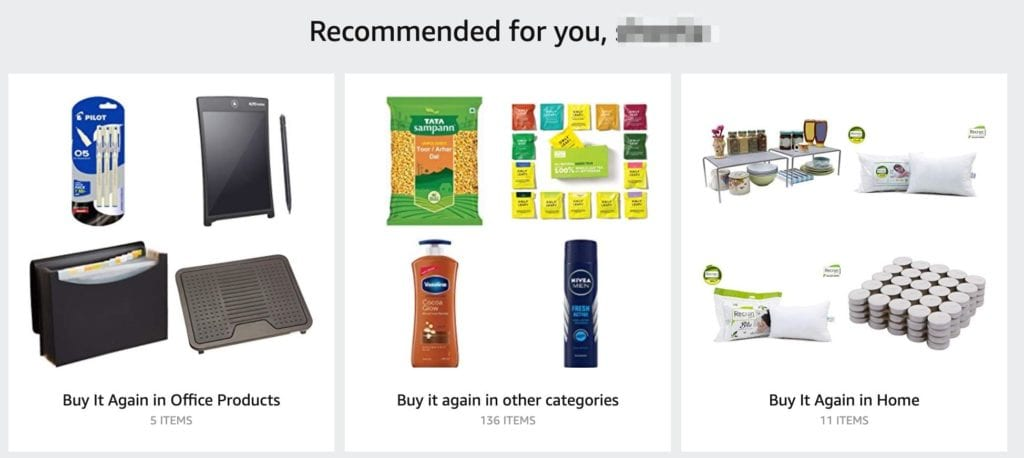 personalized recommendations on Amazon