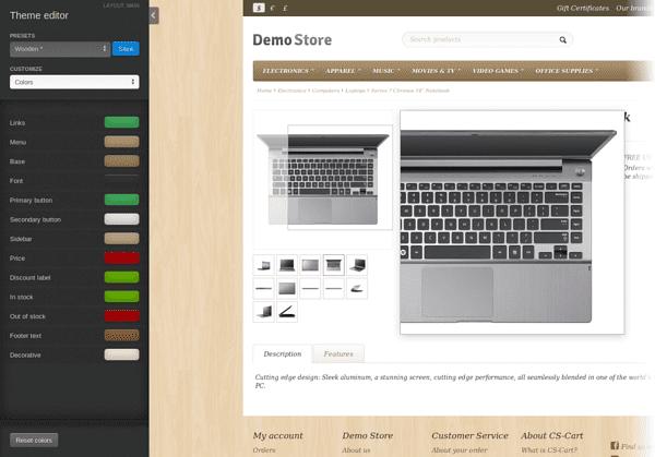 Theme editor and Image zoom
