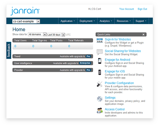 Janrain Dashboard