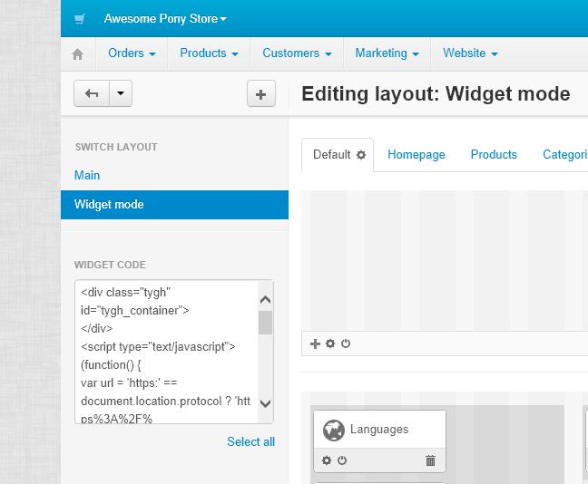 Widget Code, CS-Cart Admin Panel